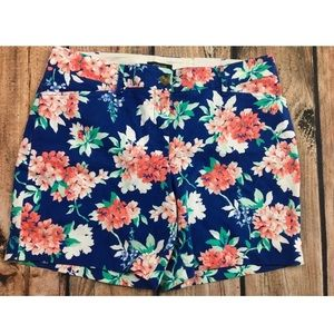 Lands End Womens Chino Mid Rise Floral Shorts 14P